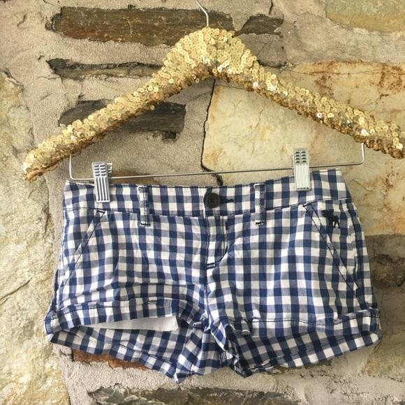 abercrombie blue/white gingham shorts girls sz 10